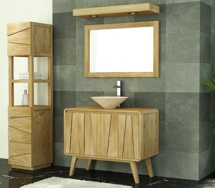 Meuble de salle de bain groovy l100 en teck 2 portes