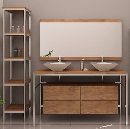 meuble en teck et inox loft pour une salle de bain. Black Bedroom Furniture Sets. Home Design Ideas