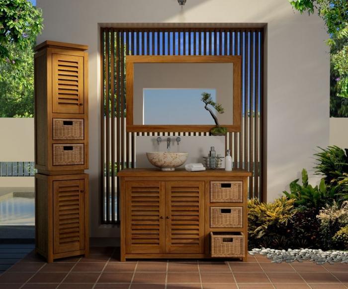 Achat vente meuble salle de bain lombok 110 teck for Ameublement deco salle de bain