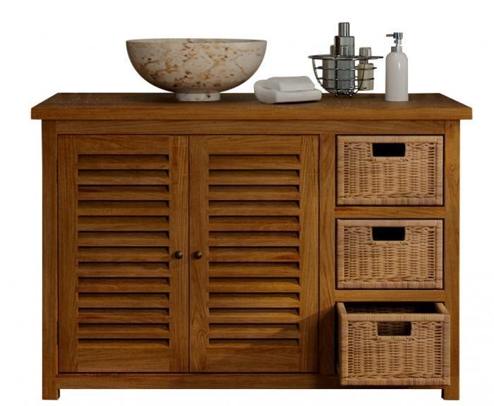 Achat vente meuble salle de bain lombok 110 teck for Meuble salle de bain porte persienne