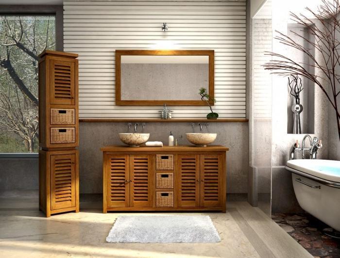 Vente meuble de salle de bains en teck lombok l145 walk for Meuble salle de bain porte persienne
