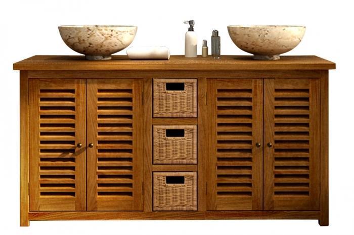 Vente meuble de salle de bains en teck lombok l145 walk for Meuble de salle de bain en solde