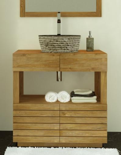 Achat meuble de salle de bain meaban walk meuble en teck - Creer sa salle de bain en ligne ...