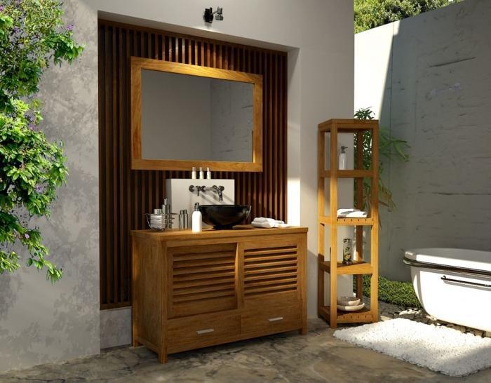 Vente meuble salle de bain teck mimizan walk meuble en - Salle de bain tek ...