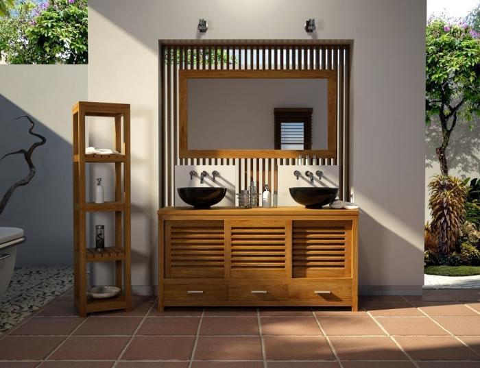 Vente mobilier salle d bain en teck mimizan l145 walk for Meuble salle de bain porte persienne