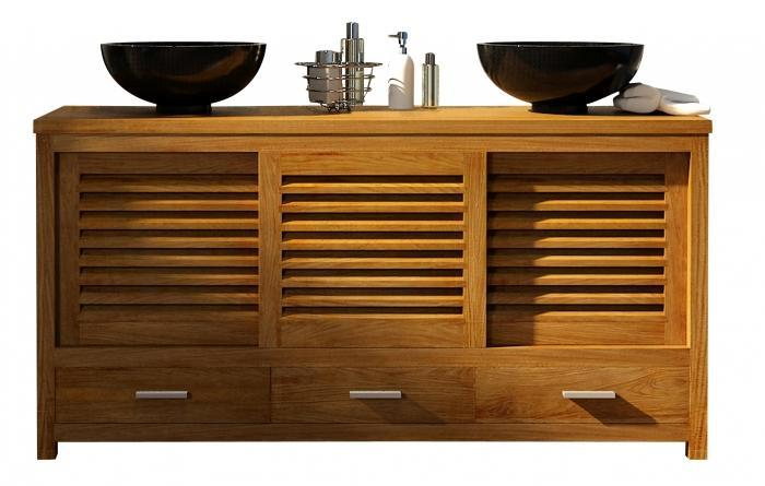 vente mobilier salle d bain en teck mimizan l145 walk meuble en teck salle de bain. Black Bedroom Furniture Sets. Home Design Ideas