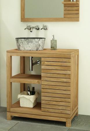 Meuble de salle de bain en teck la ligne pur e et design - Meuble salle de bain teck design ...