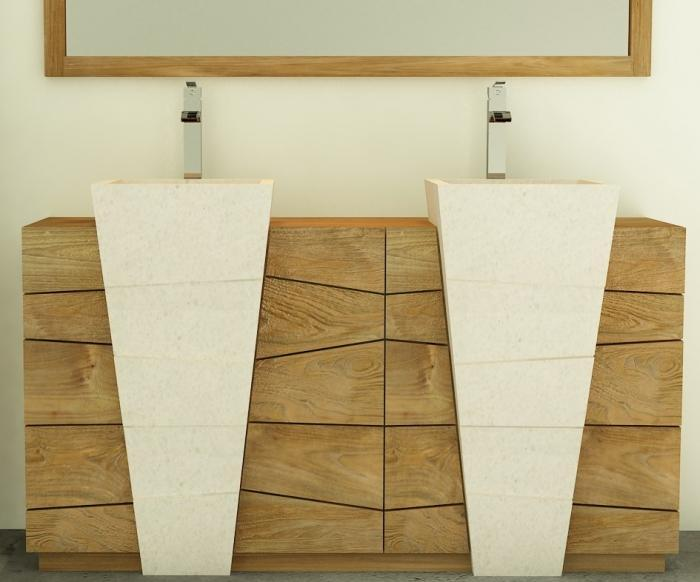 Achat vente meuble de salle de bain rhodes walk meuble en teck salle de bain - Lavabo double vasque sur colonne ...