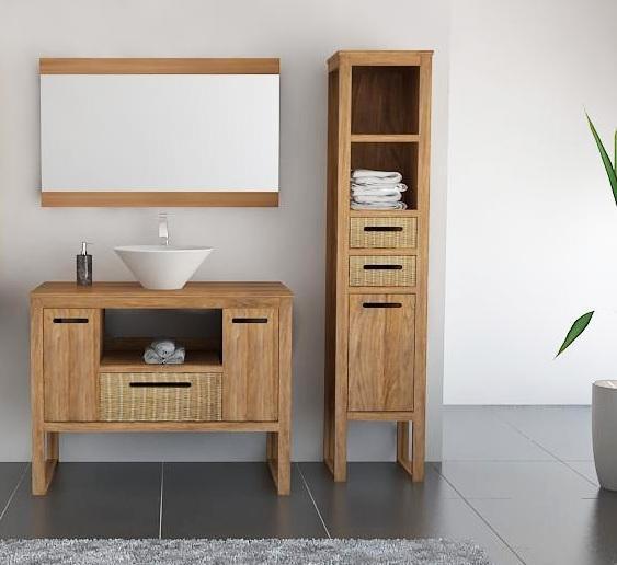 Achat vente meuble de salle de bain teck mobilier en for Mobilier de salle de bain