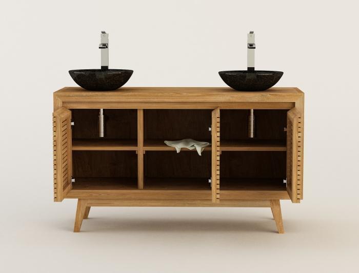 Achat meuble de salle de bain sikka walk meuble en teck for Meuble salle de bain antique