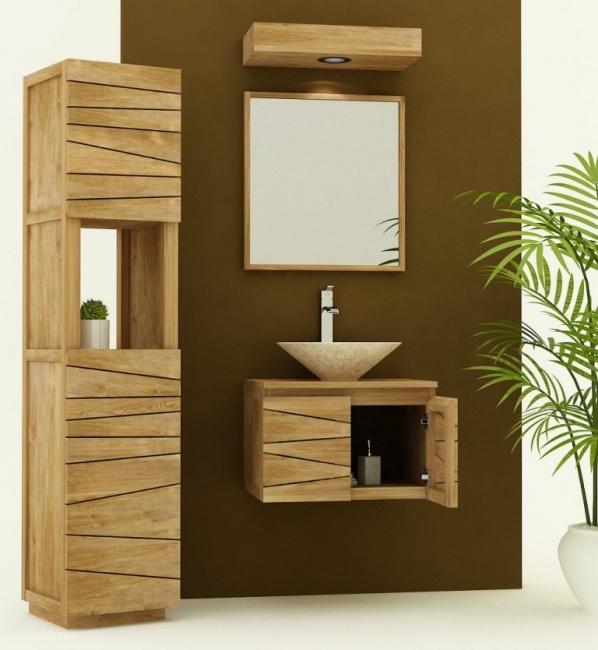 Achat vente meuble de salle de bain teck suspendre for Meuble pour evier salle de bain
