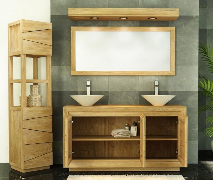 Meuble de salle de bain teck, possibilité de 2 vasques à poser