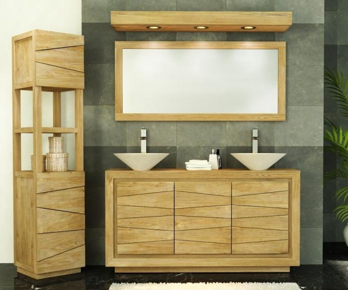 Achat meuble de salle de bain teck dumet meuble en teck - Meuble salle de bain panier ...