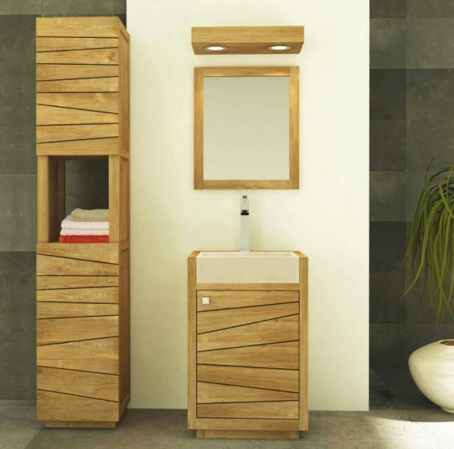 Meuble de salle de bain en teck tascon avec vasque blanche for Meuble salle de bain en teck avec vasque