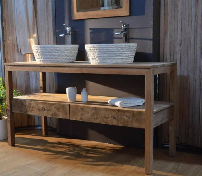 Achat meuble de salle de bain wood meuble en teck for Achat meuble salle de bain