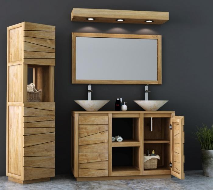 Meuble troit et design en teck pour 2 vasques poser en - Meuble salle de bain teck design ...