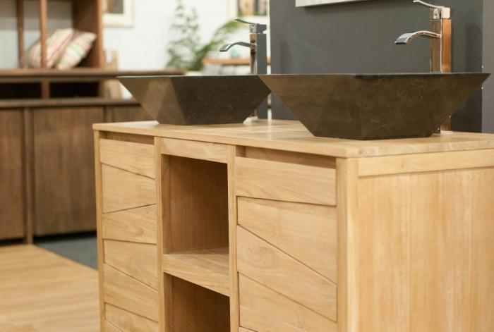 Vente meuble de salle de bains teck 140 walk meuble en for Meuble en teck