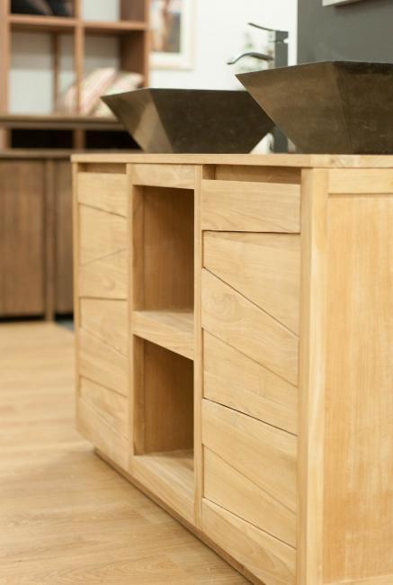 Vente meuble de salle de bains teck 140 walk meuble en teck salle debain - Meuble salle de bain en promo ...