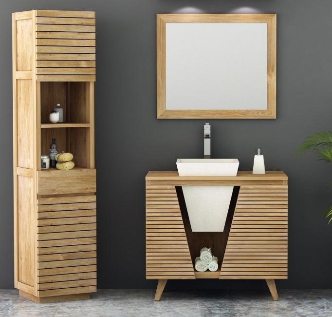meuble de salle de bain teck oc ane 90 cm 2 portes et 1 vasque encastr e. Black Bedroom Furniture Sets. Home Design Ideas