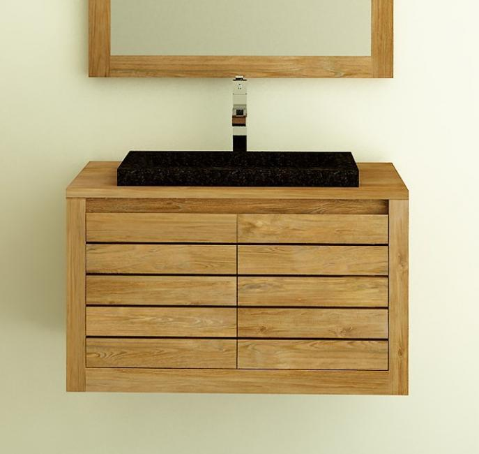 Meuble de salle de bain suspendre en teck molene 55 cm for Petit meuble de sdb