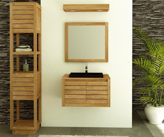 Meuble de salle de bain suspendre en teck molene 55 cm id al pour les peti - Sol salle de bain en teck ...
