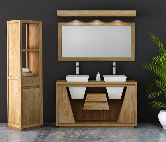 achat meuble salle de bain teck oc ane 150 cm double vasques equip de 2 portes et de 2 tiroirs. Black Bedroom Furniture Sets. Home Design Ideas