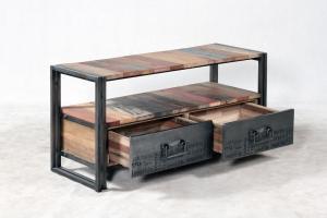 vente meuble tv 112 cm bois recycl et m tal un style. Black Bedroom Furniture Sets. Home Design Ideas