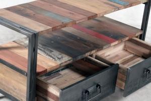 vente meuble tv 112 cm bois recycl et m tal un style industriel pour votre salon. Black Bedroom Furniture Sets. Home Design Ideas