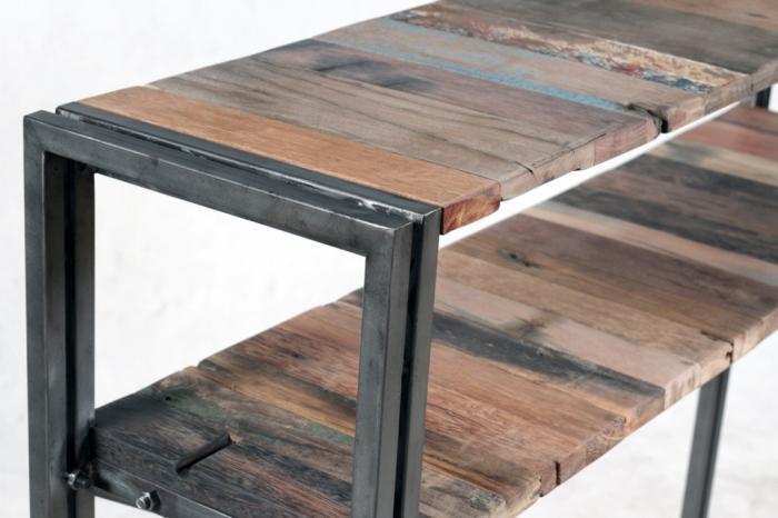 Vente meuble tv 140 cm bois recycl et m tal un style for Meuble tv bois 120 cm