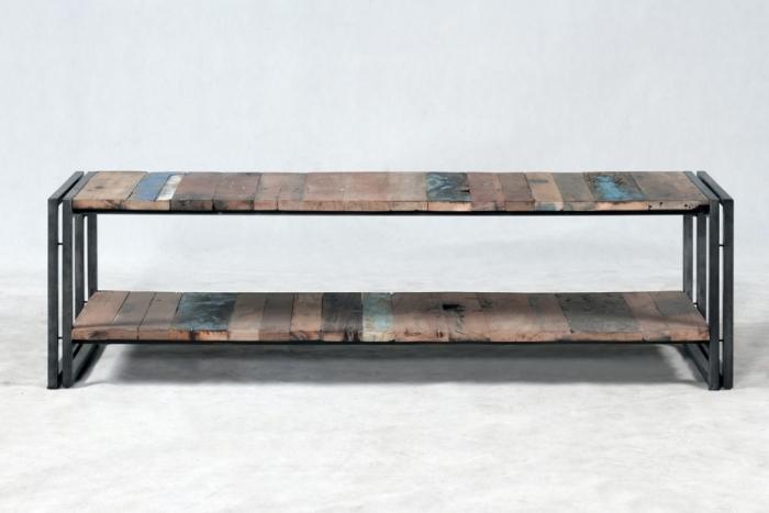 Vente meuble tv 140 cm bois recycl et m tal un style for Meuble tv pour ecran plat 140 cm