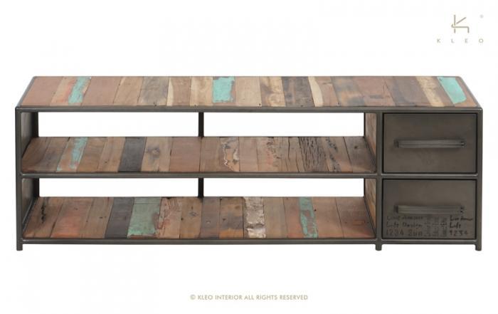 Achat meuble tv industriel 140 cm bois et m tal for Achat meuble industriel