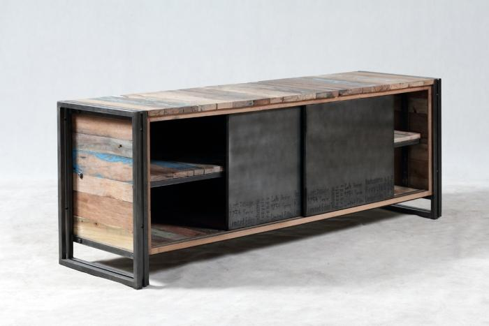 Vente meuble tv 160 cm en bois recycl et m tal un style for Meuble 2 portes bois