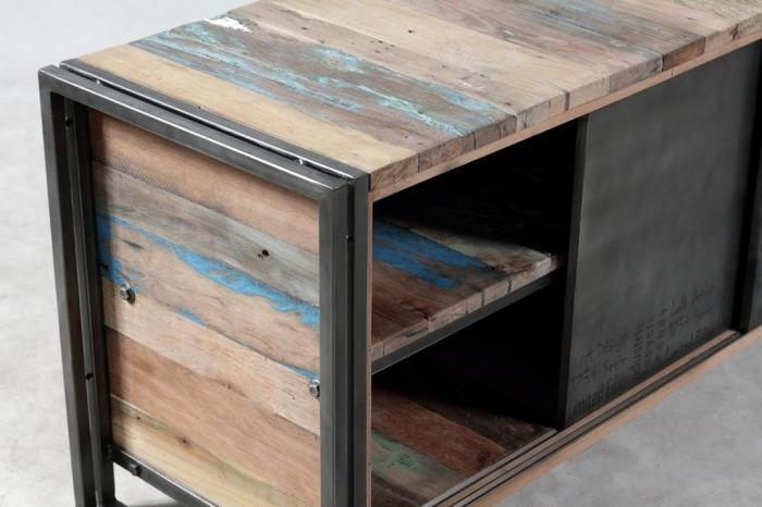 Vente meuble tv 160 cm en bois recycl et m tal un style for Meuble tele porte coulissante