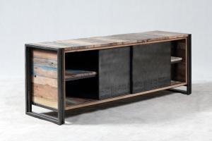 Vente meuble tv 160 cm en bois recycl et m tal un style - Meuble industriel metal pas cher ...