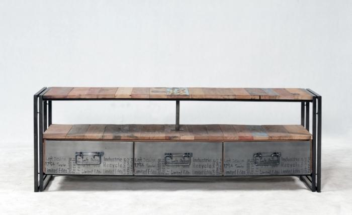 Meuble tv 160 cm bois recycl et m tal quip de 3 tiroirs for Meuble tv 160 cm