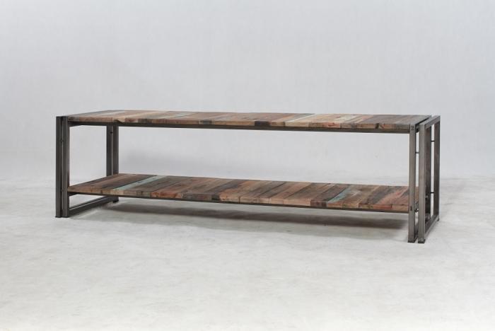 achat meuble tv 160 cm de style industriel fabriqu en m tal et bois recycl un prix tr s doux. Black Bedroom Furniture Sets. Home Design Ideas