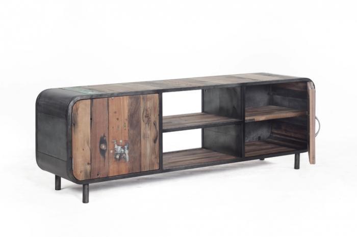 achat meuble tv 160 vintage avec 2 portes battantes et 2 compartiments ouverts. Black Bedroom Furniture Sets. Home Design Ideas
