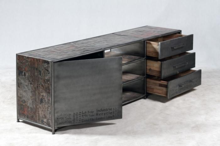 Achat grand meuble tv de style industriel ce meuble tv for Meuble une porte et un tiroir