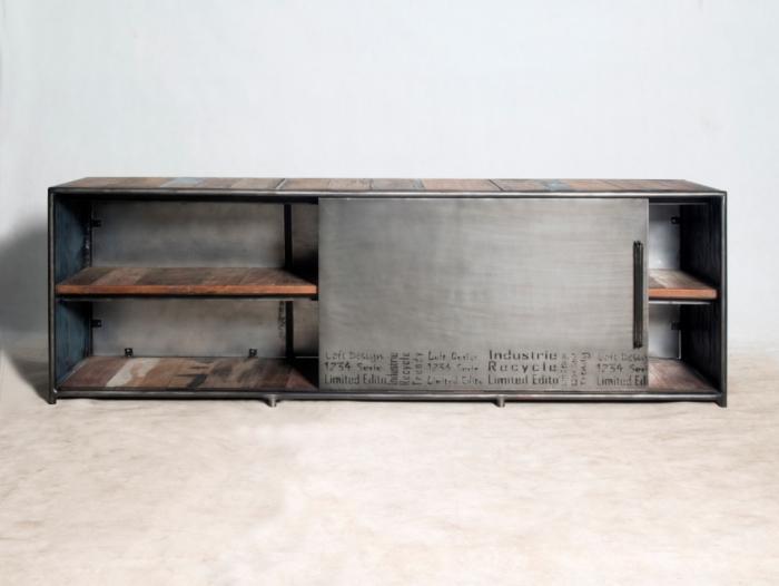 Achat meuble tv 180 cm style industriel con u partir de for Meuble tv urban