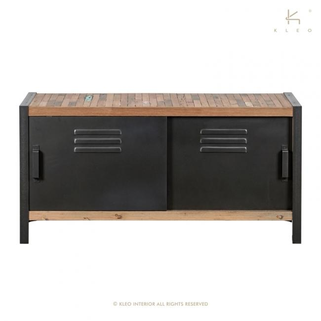 achat meuble tv 120 cm quip de 2 portes coulissantes une construction base de m tal et de bois. Black Bedroom Furniture Sets. Home Design Ideas