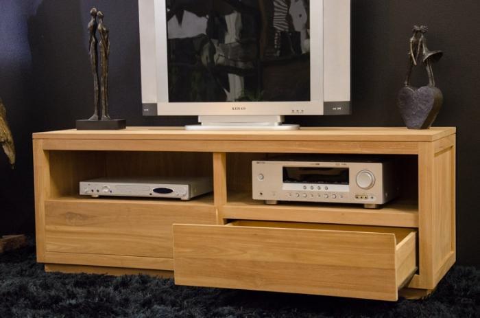 meuble tv 140 cm emma en teck naturel 2 tiroirs et 2 compartiments ouverts. Black Bedroom Furniture Sets. Home Design Ideas