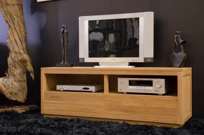 meuble tv 140 cm emma en teck naturel 2 tiroirs et 2 compartiments ouverts. Black Bedroom Furniture Sets. Home Design Ideas