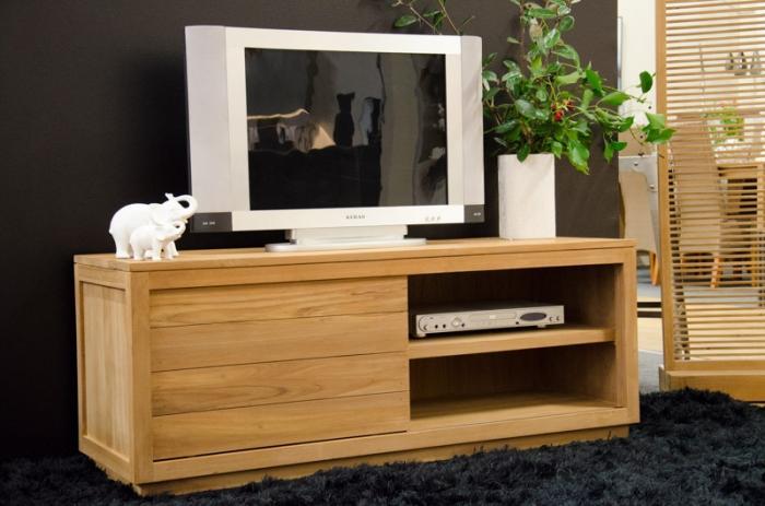 meuble tv 130 cm en teck quip d 39 une porte coulissante et. Black Bedroom Furniture Sets. Home Design Ideas