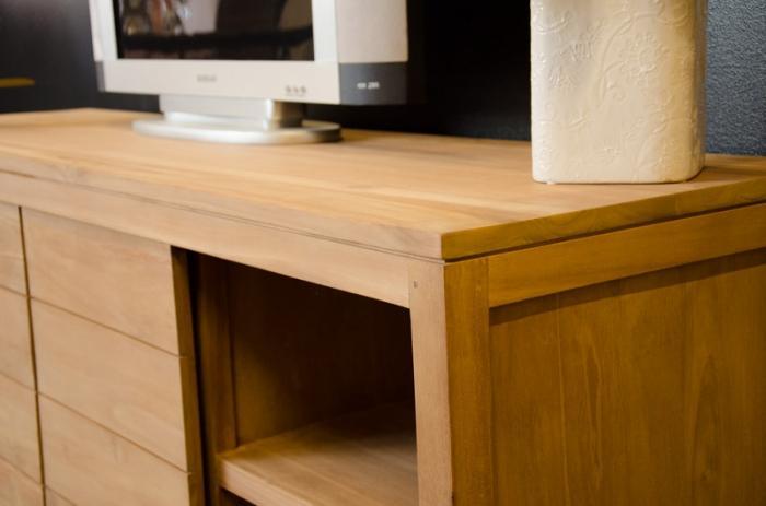 meuble tv 160 cm en teck naturel 2 portes coulissantes et. Black Bedroom Furniture Sets. Home Design Ideas