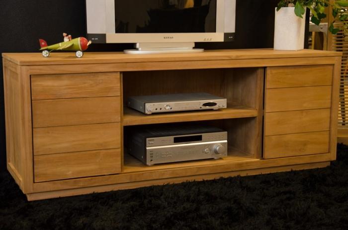 meuble tv 160 cm en teck naturel 2 portes coulissantes et 6 niches de rangement grande capacit. Black Bedroom Furniture Sets. Home Design Ideas