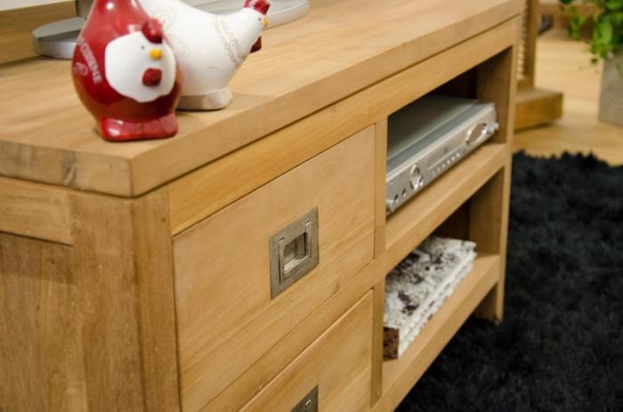 meuble tv 90 cm en teck quip de 2 tiroirs et 2. Black Bedroom Furniture Sets. Home Design Ideas