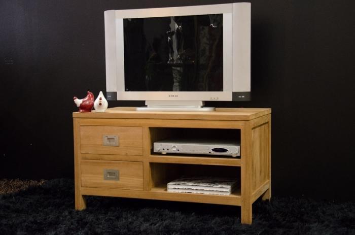 Meuble tv 90 cm en teck quip de 2 tiroirs et 2 for Meuble tv 90 cm de longueur