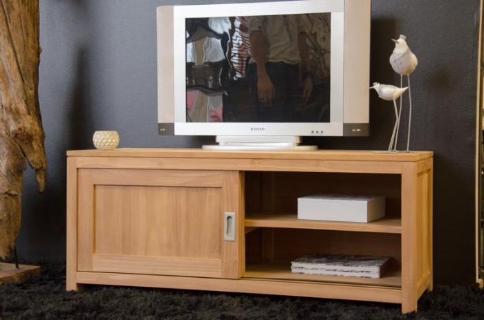 Meuble tv 120 cm en bois de teck 2 portes et 1 tag re for Meuble de tv en bois