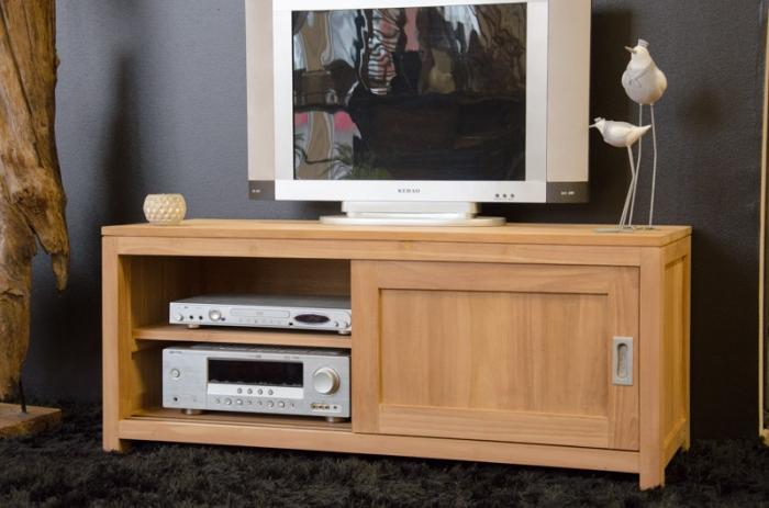 Meuble Tv 120 Cm En Bois De Teck 2 Portes Et 1 Etagere