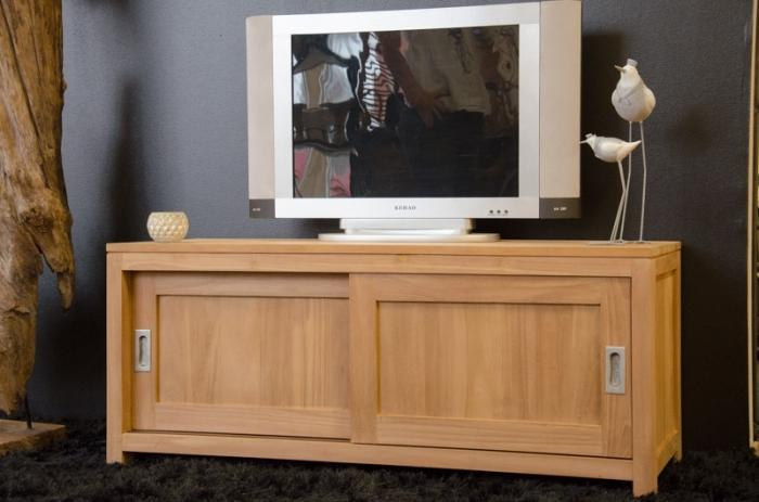 Meuble tv 120 cm en bois de teck 2 portes et 1 tag re for Meuble tele 90 cm